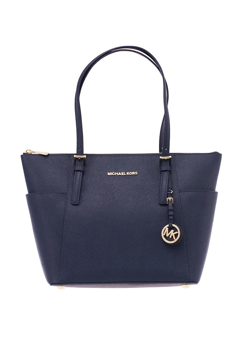 Michael Michael Kors Синяя сумка Jet Set Item michael kors серая сумка jet set item