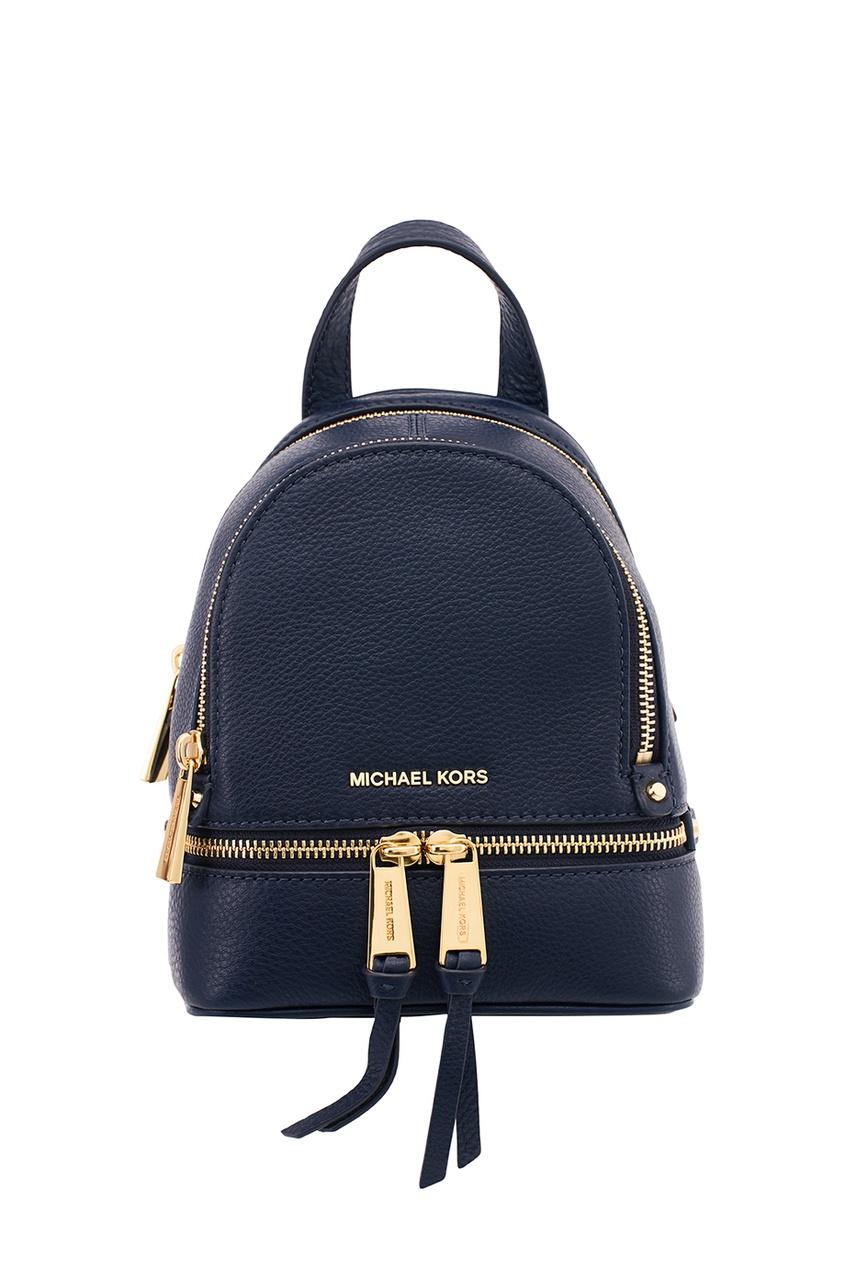 Michael Kors Синий кожаный рюкзак Rhea Zip рюкзак michael michael kors michael michael kors mi048bwaecc9