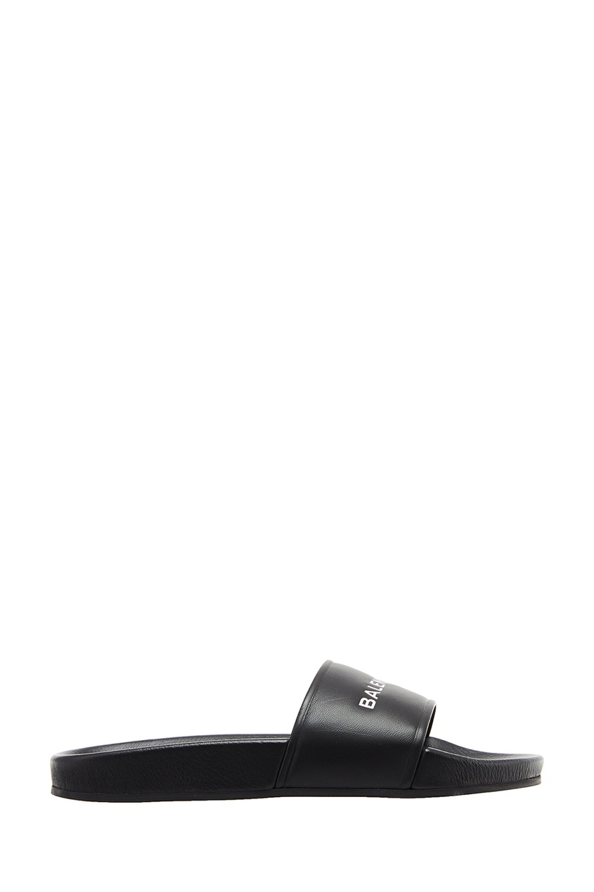 Balenciaga Черные кожаные шлепанцы с логотипом