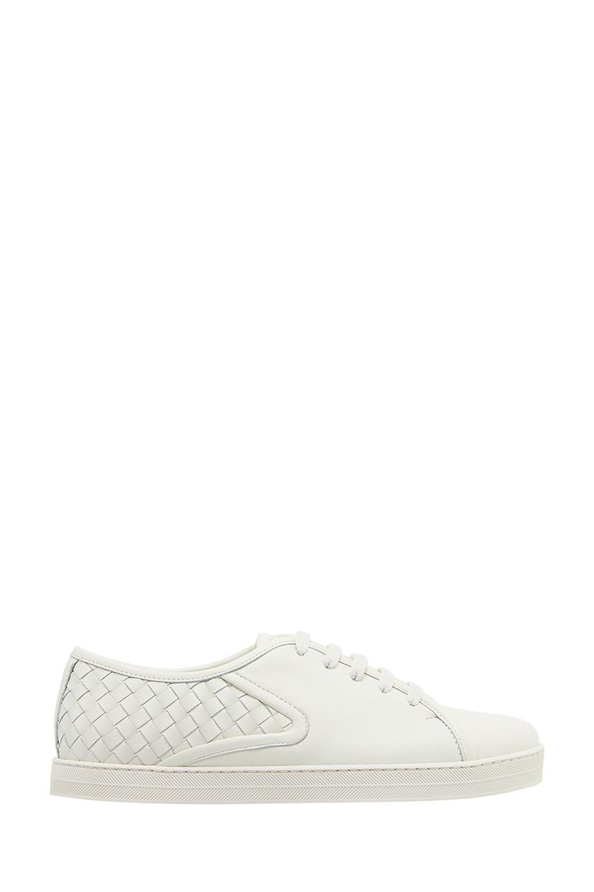Белые кожаные кеды с плетением от Bottega Veneta