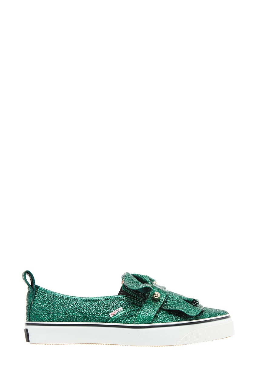Red Valentino Блестящие зеленые слипоны
