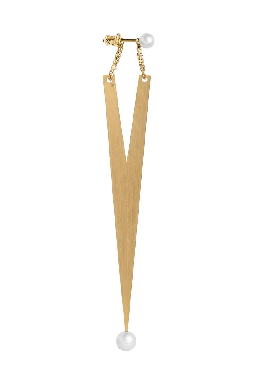 Dusty Rose Асимметричные серьги из желтого золота