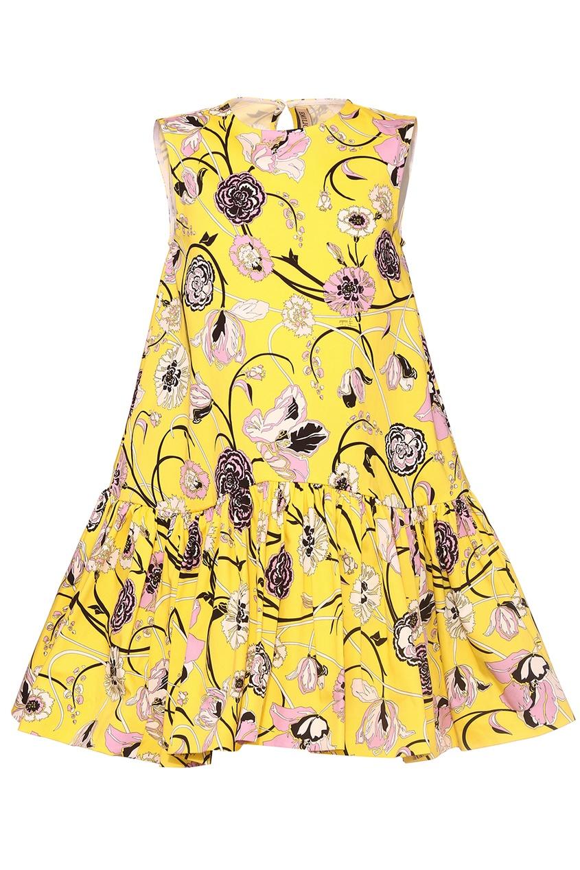 Emilio Pucci Children Желтое платье с цветами