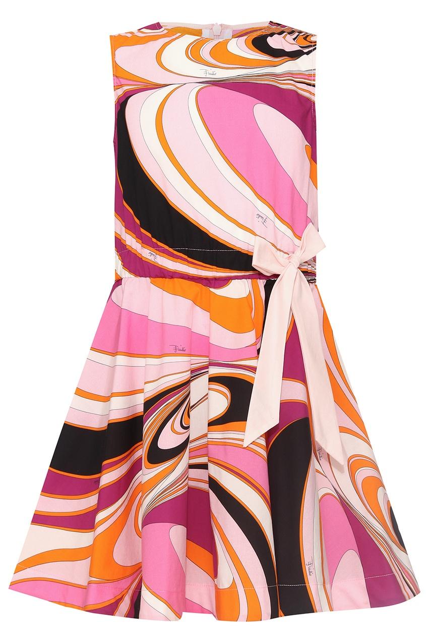 Emilio Pucci Children Хлопковое платье с принтом
