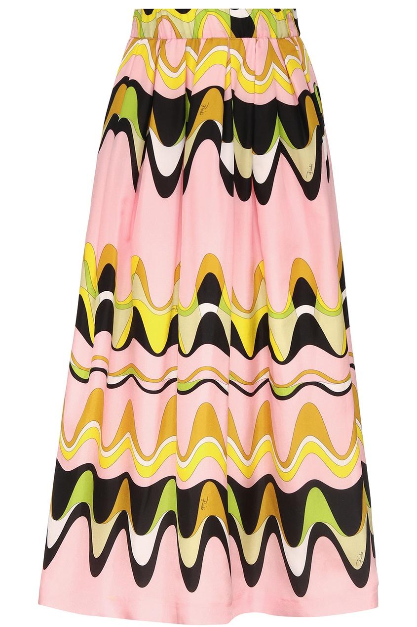 Emilio Pucci Children Розовая юбка с ярким принтом