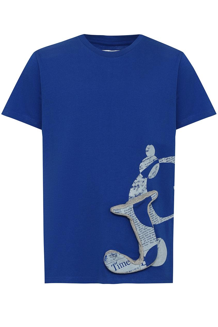 John Galliano Children Синяя футболка с аппликацией