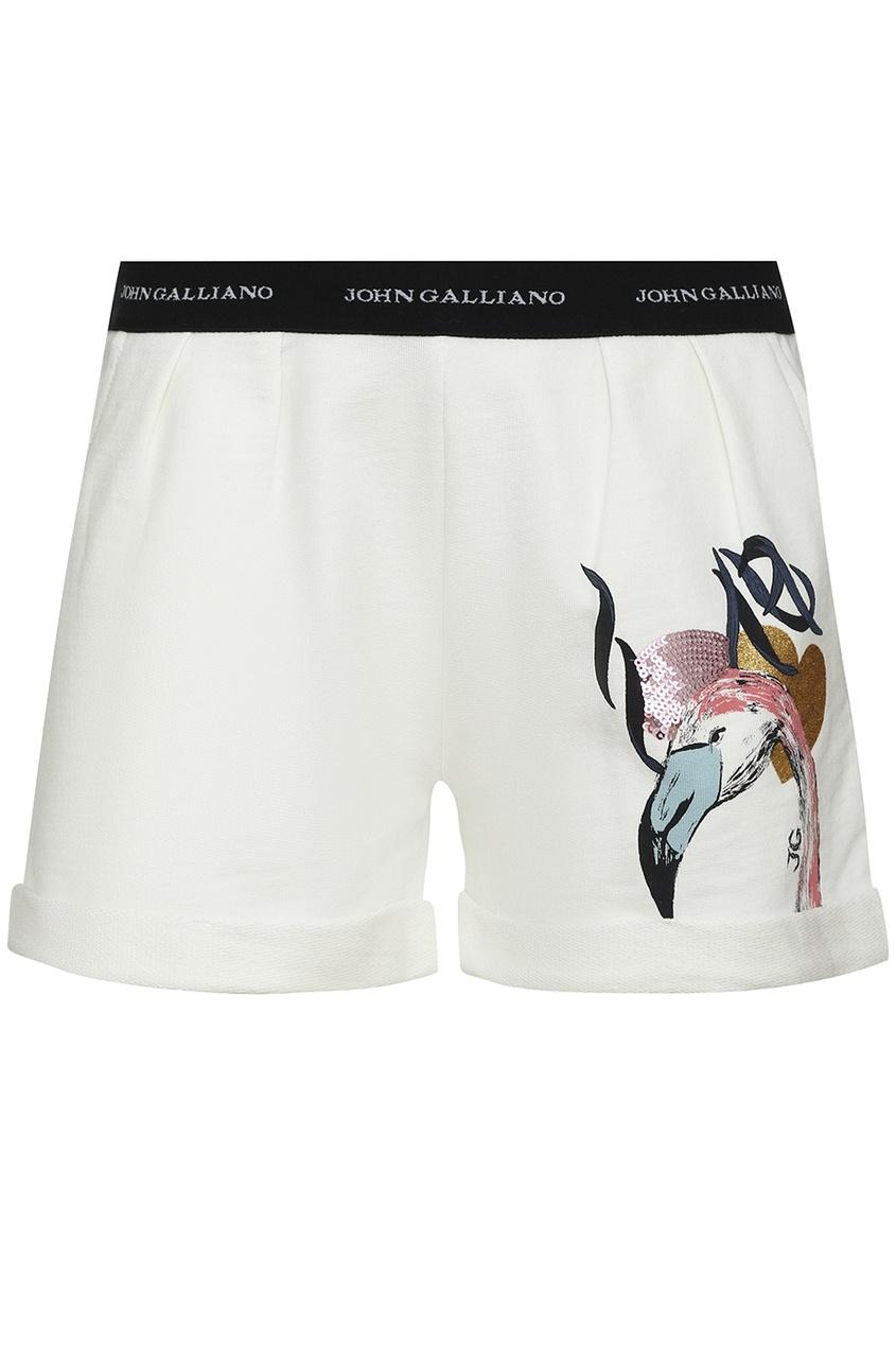 Белые шорты с фламинго