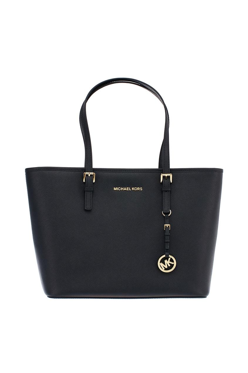 Michael Michael Kors Черная сумка Jet Set Travel с золотистой фурнитурой michael kors серая сумка jet set item