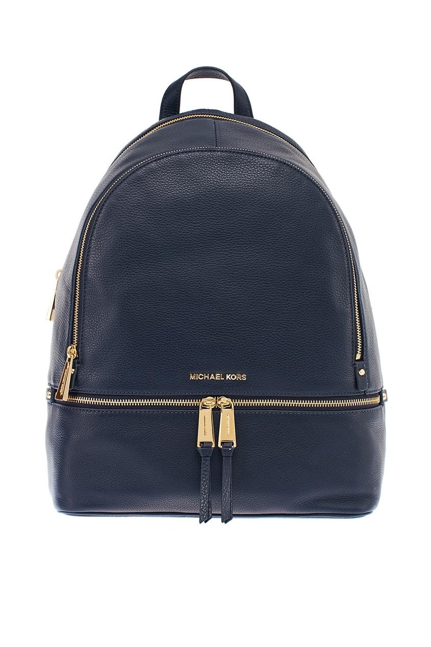 Michael Kors Синий рюкзак с золотистой молнией Rhea Zip