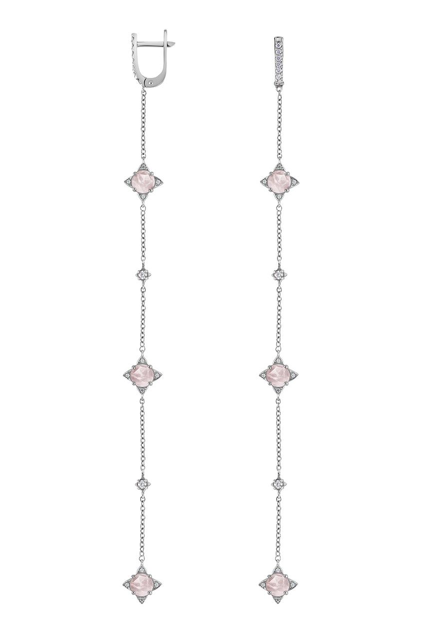 Moonka Studio Серебряные серьги-цепочки с кварцем серьги из розового кварца афина снкр 042