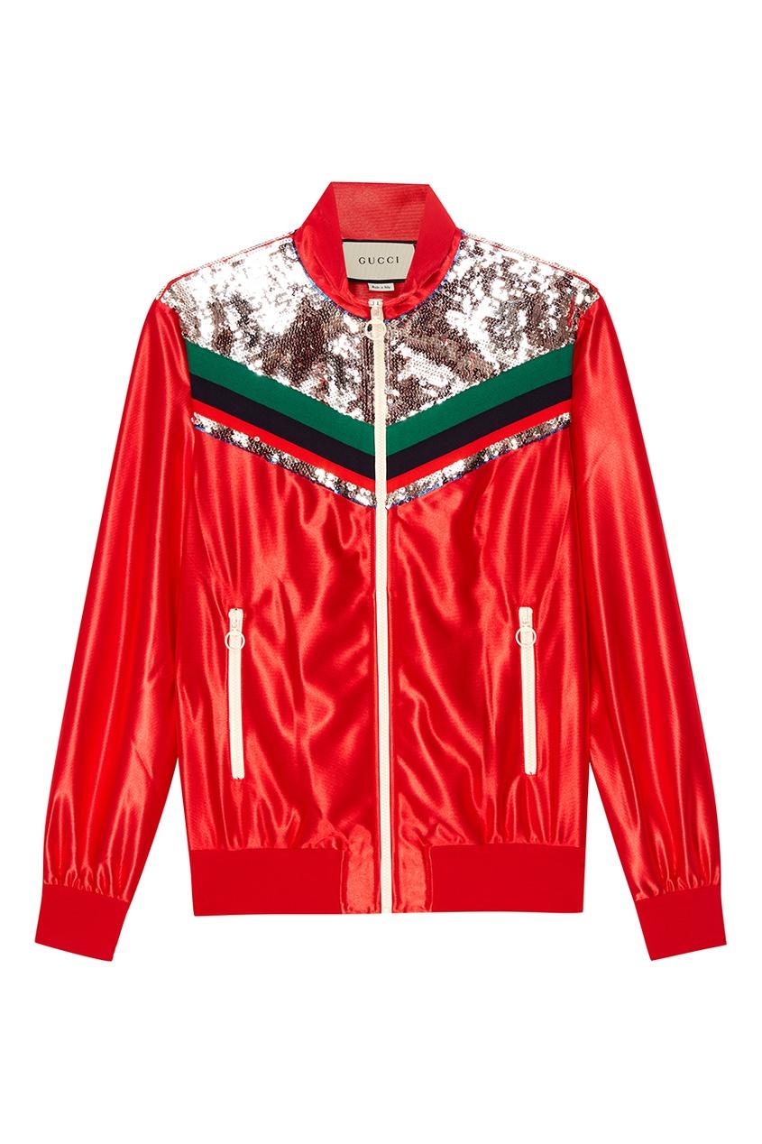 Gucci Красная олимпийка с пайетками черный корсет с пайетками на молнии 48