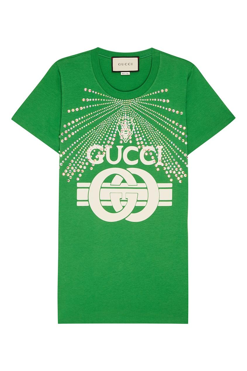 Gucci Зеленая футболка с кристаллами