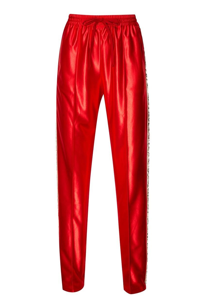Красные брюки с лампасами из пайеток