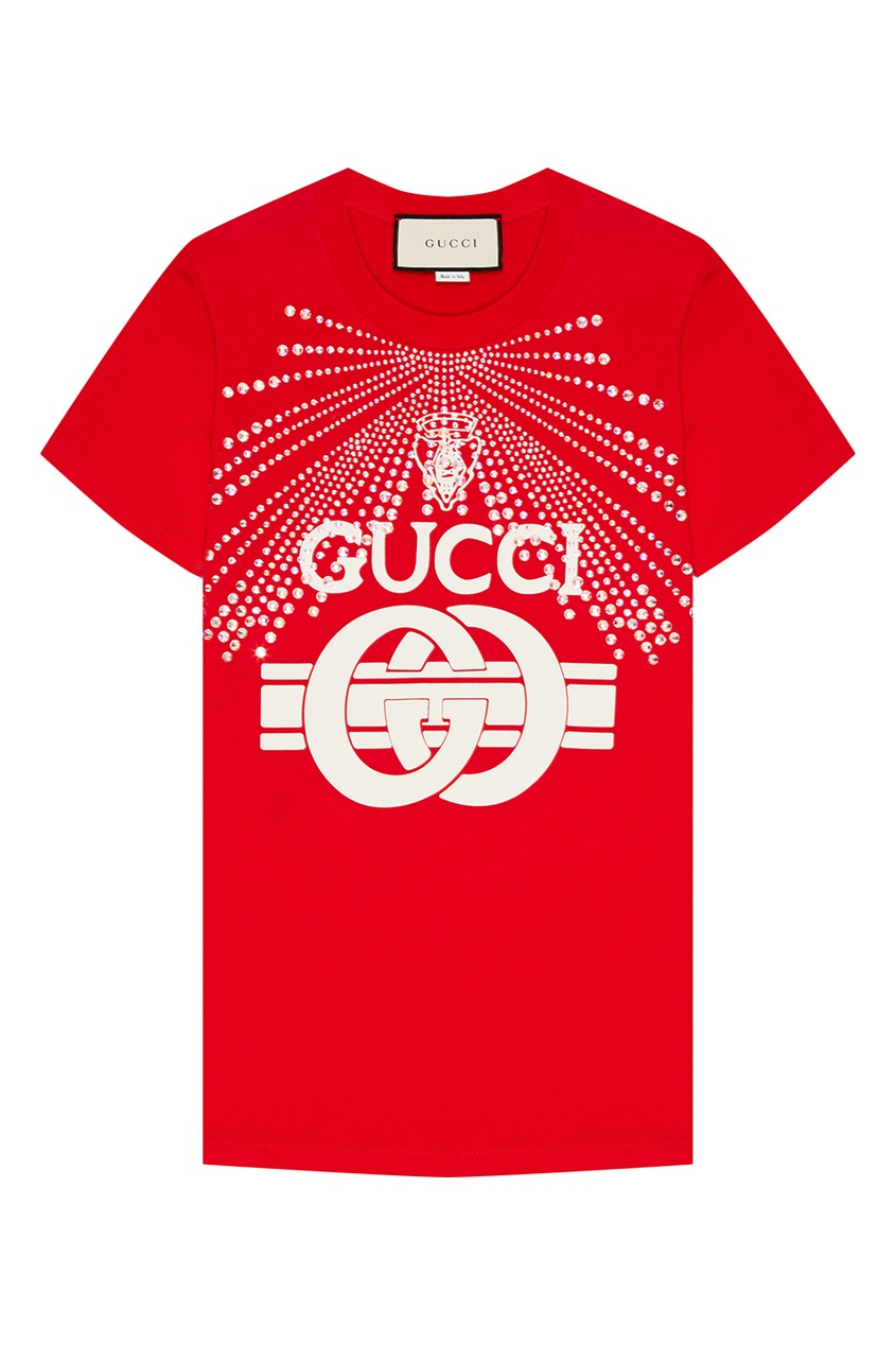 Gucci Красная футболка с кристаллами