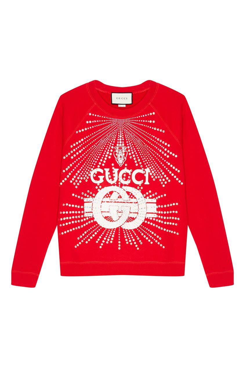 Gucci Красный свитшот с кристаллами