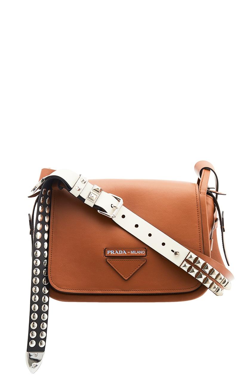 женская сумка prada, коричневая
