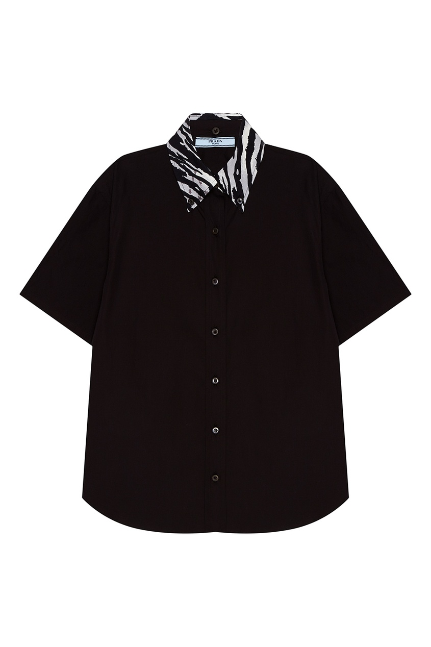 все цены на Prada Черная рубашка с декоративным воротником