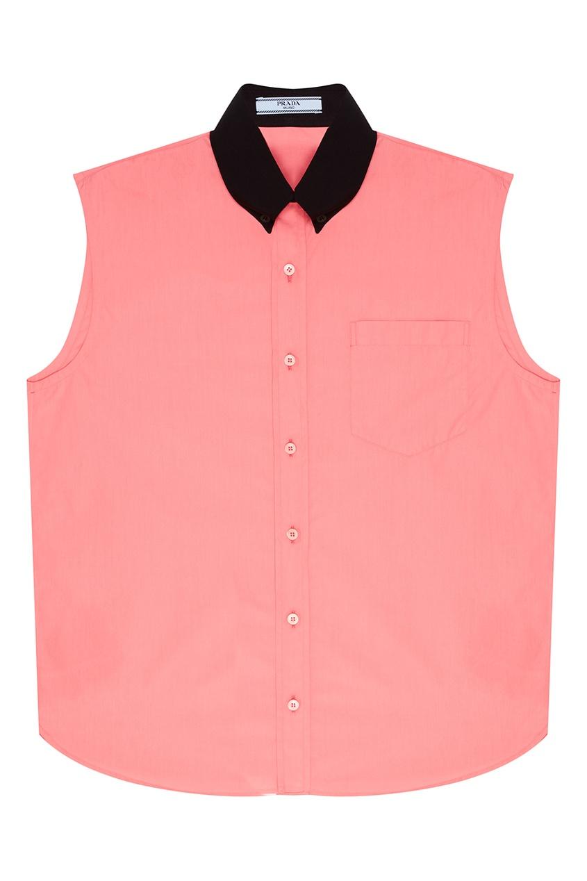 все цены на Prada Розовый топ с черным воротником