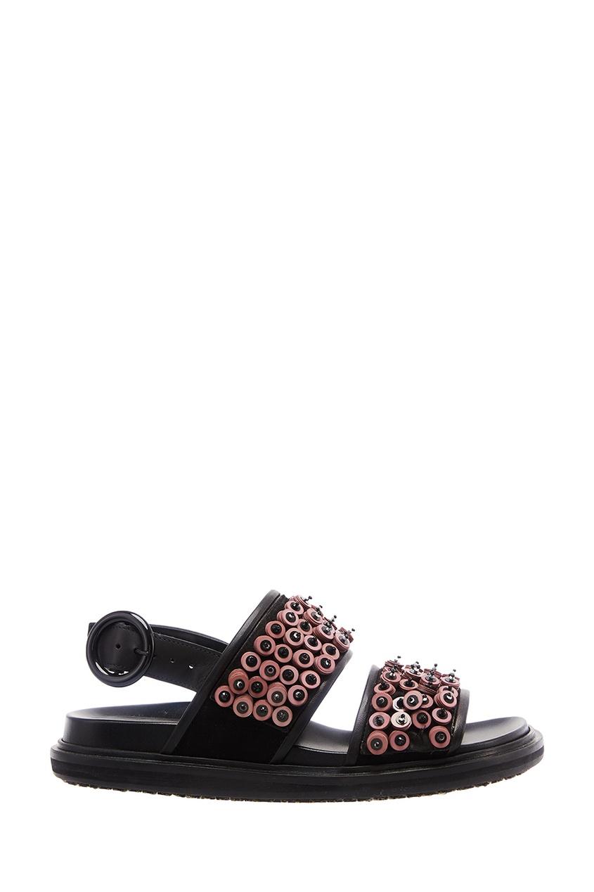 Marni Кожаные сандалии с объемным декором moncler кожаные сандалии на плетеной подошве