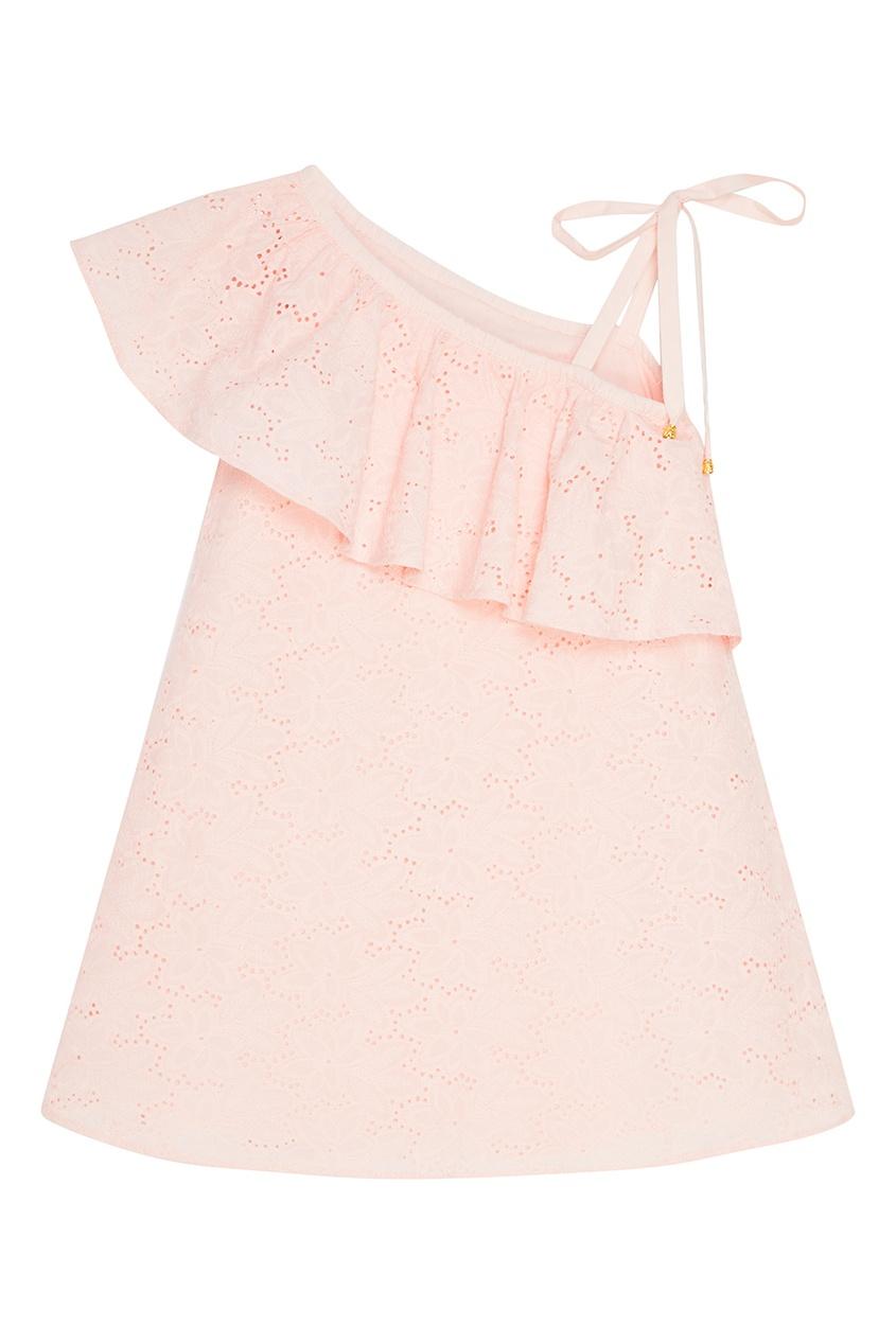 Розовый сарафан с воланом