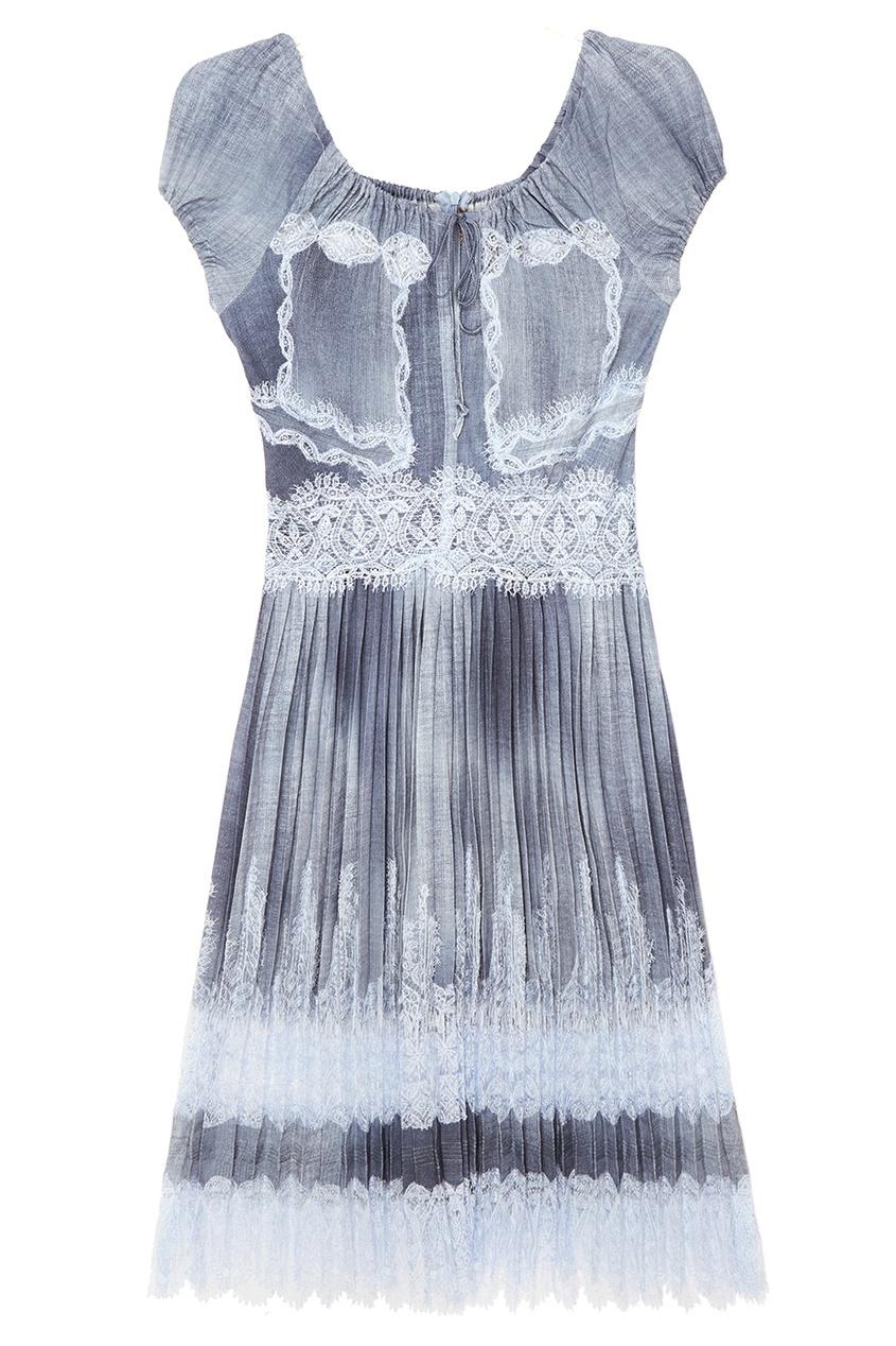 Ermanno Scervino Плиссированное платье с кружевом