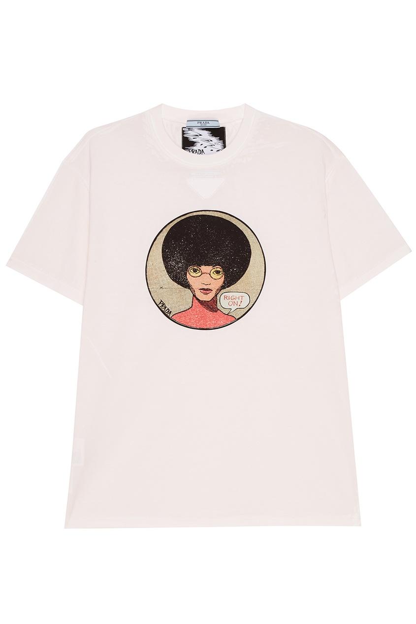 женская футболка удлиненные prada, розовая