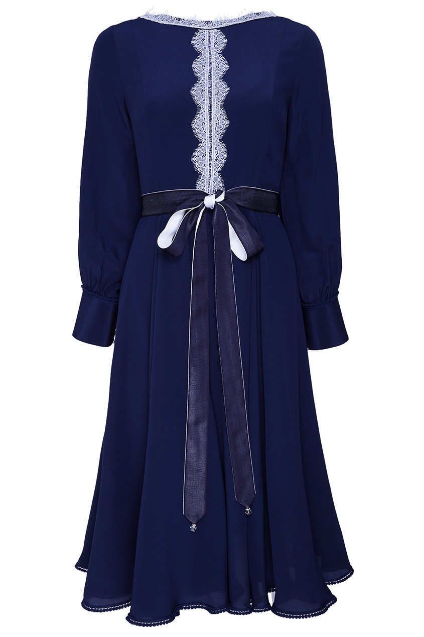 The Dress Синее шелковое платье с поясом season4reason season4reason платье с поясом 168056