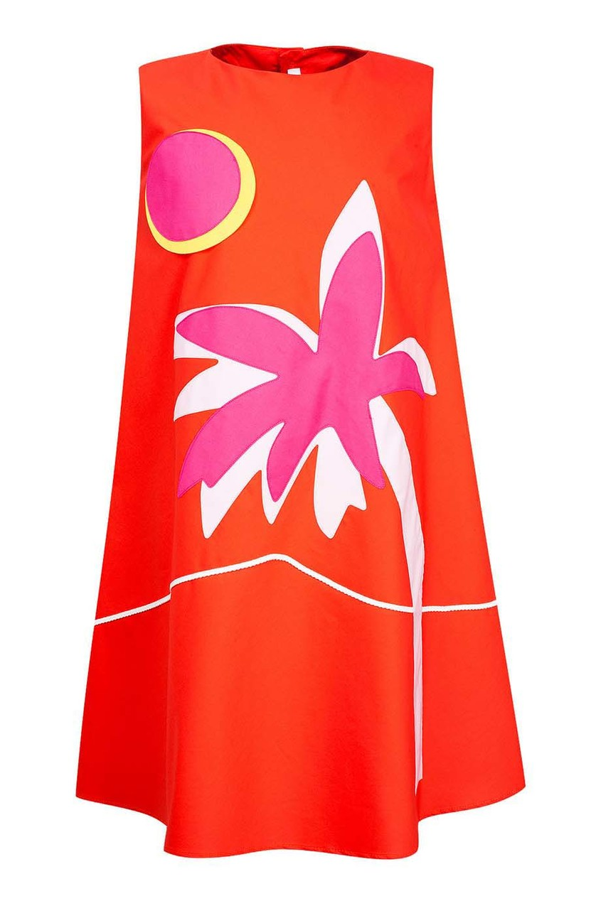 il Gufo Красное платье с пальмой платье il gufo il gufo il003egrho59