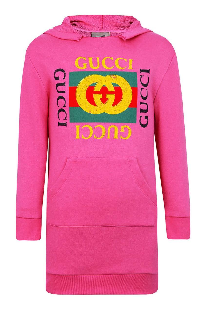 Gucci Children Розовое платье-худи худи