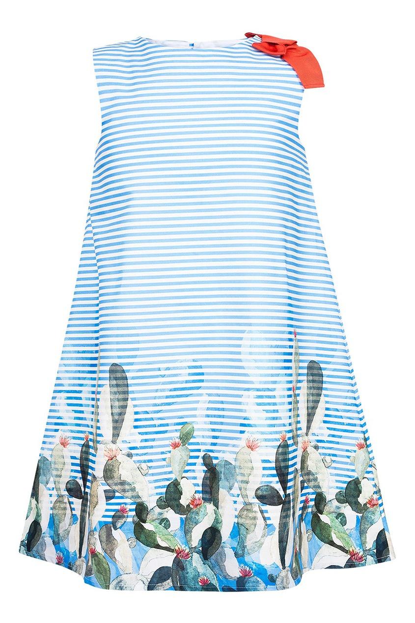 il Gufo Платье в полоску с цветами платье il gufo il gufo il003egrho59
