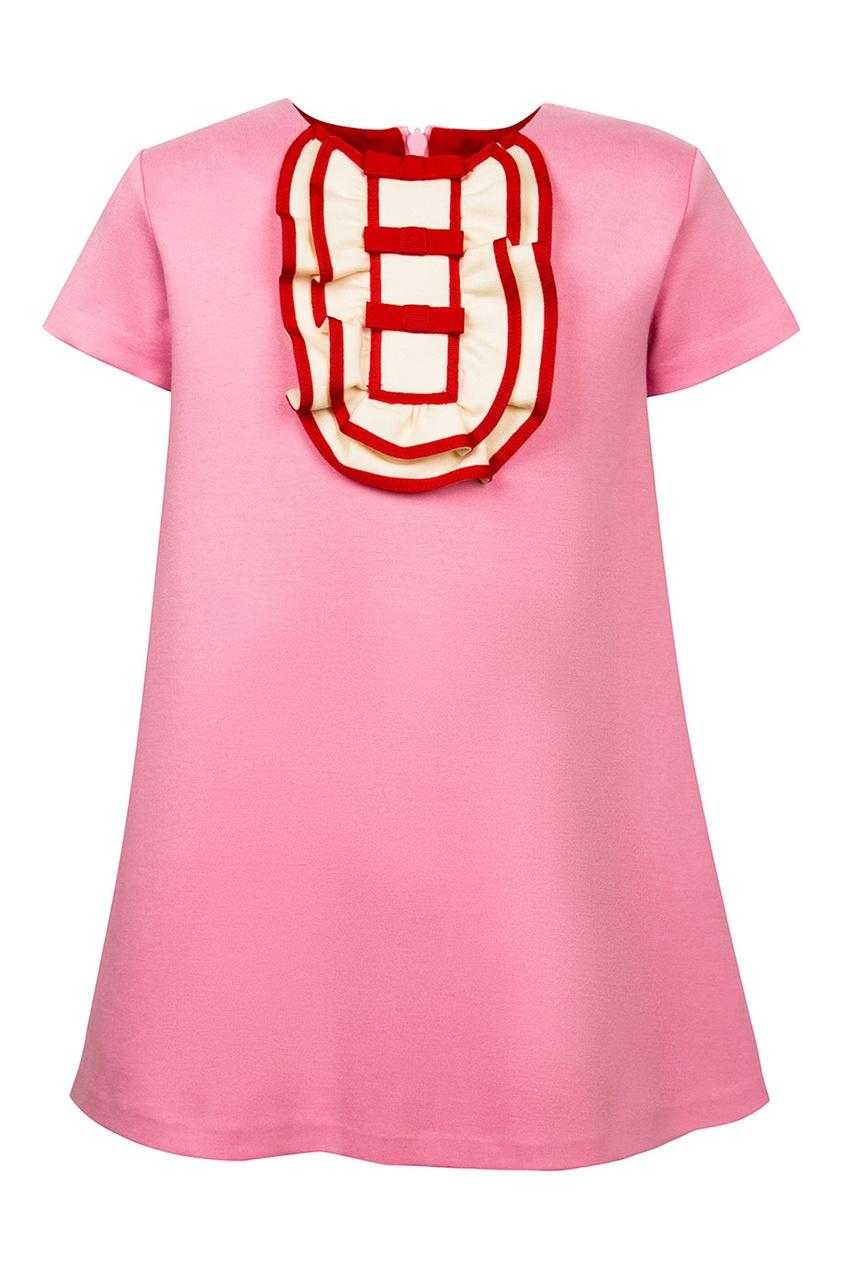 Gucci Kids Розовое платье с объемной отделкой