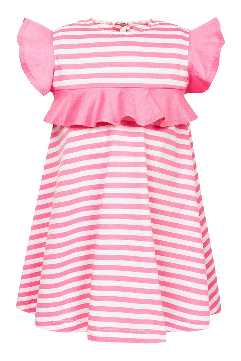 Платье в розовую полоску с воланами