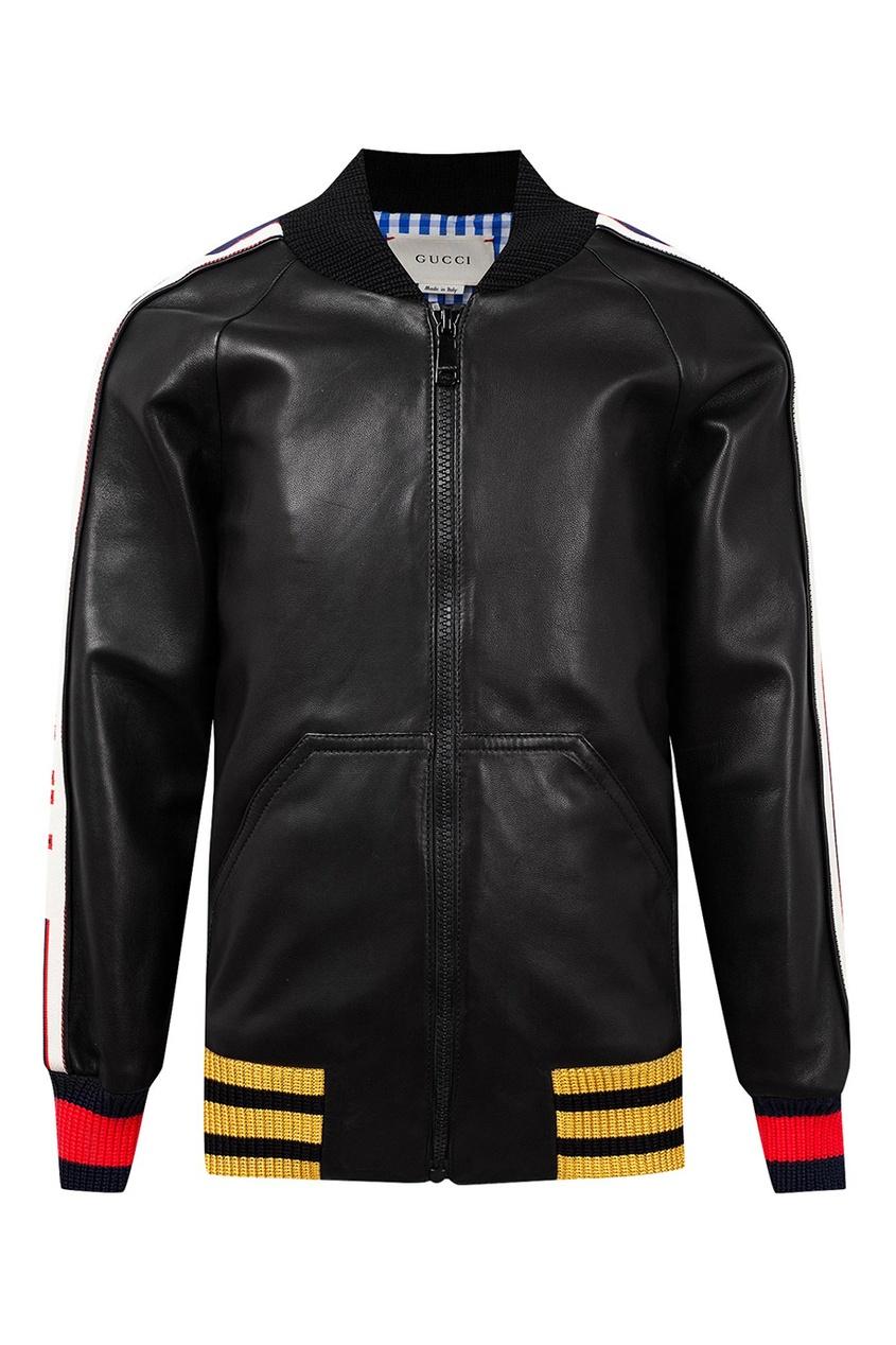 Кожаная куртка с контрастной отделкой от Gucci Kids