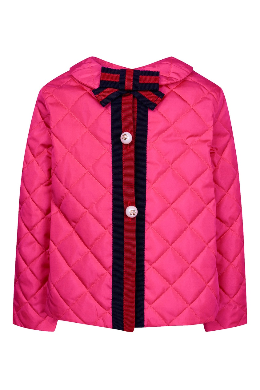 Gucci Children Розовая стеганая куртка с контрастной отделкой gucci children куртка с принтом