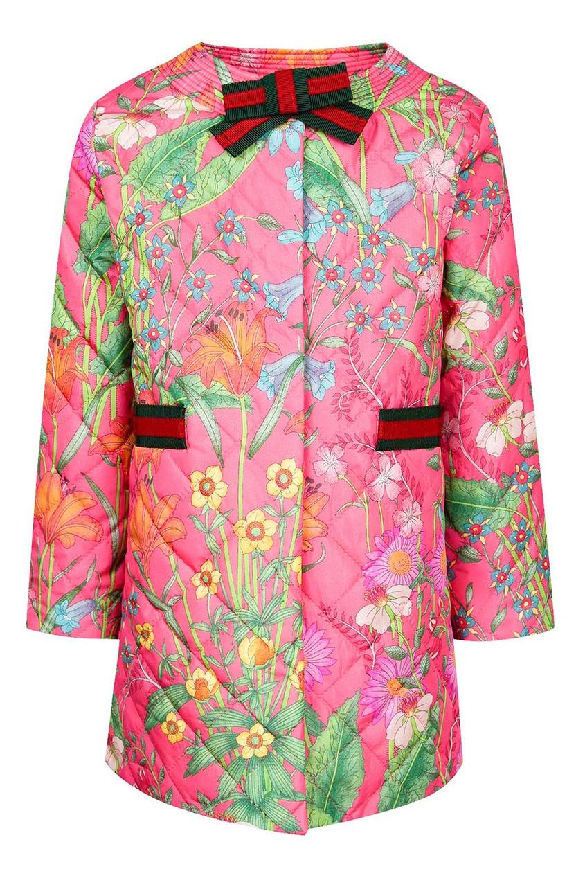 Gucci Children Стеганая куртка с цветочным принтом gucci children куртка с принтом