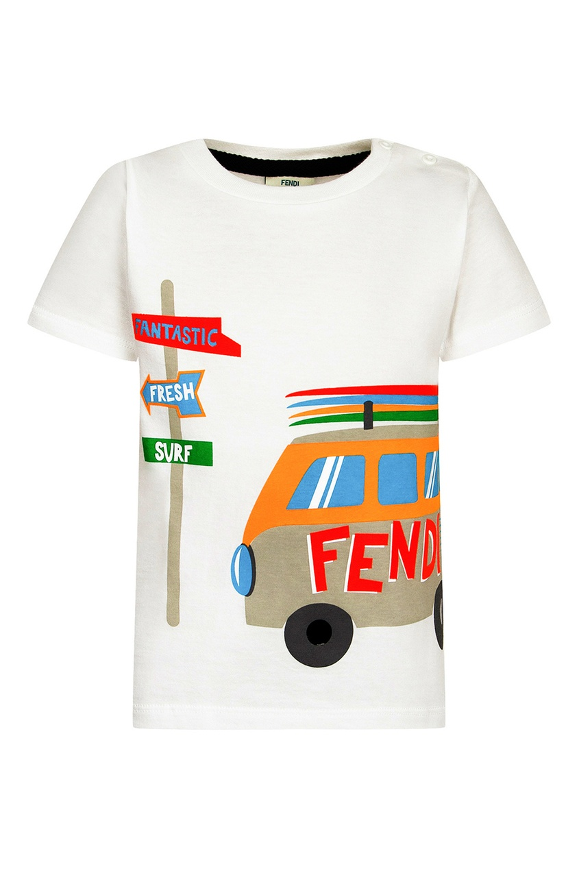 Fendi Children Белая футболка с машиной футболка белая catimini ут 00011611