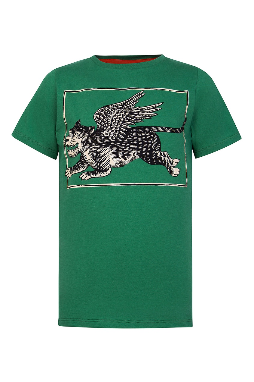 Gucci Children Зеленая футболка с черно-белым принтом gucci children куртка с принтом