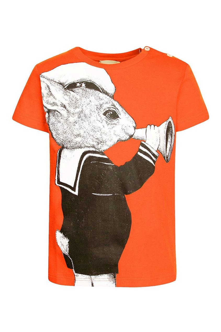 Gucci Children Оранжевая футболка с графичным принтом gucci children куртка с принтом