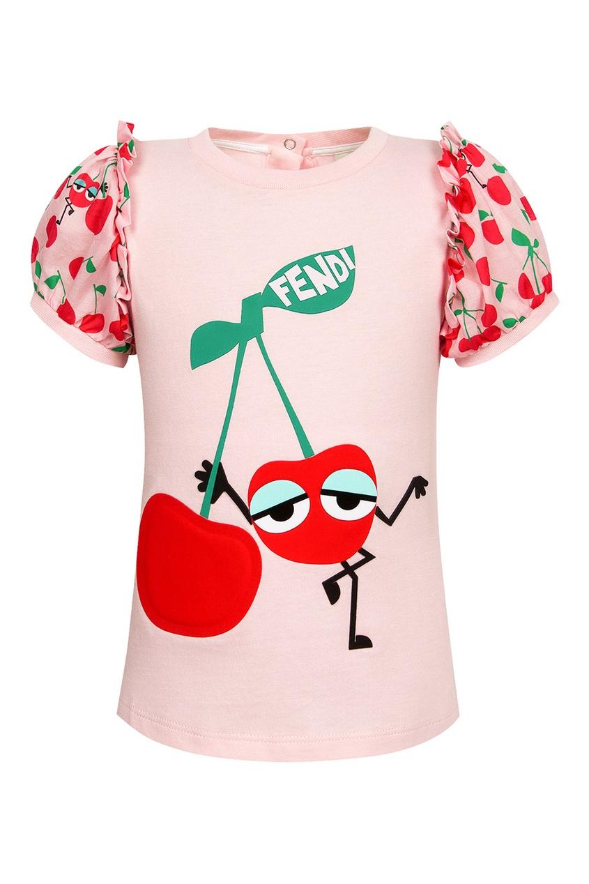Fendi Children Розовая футболка с вишнями