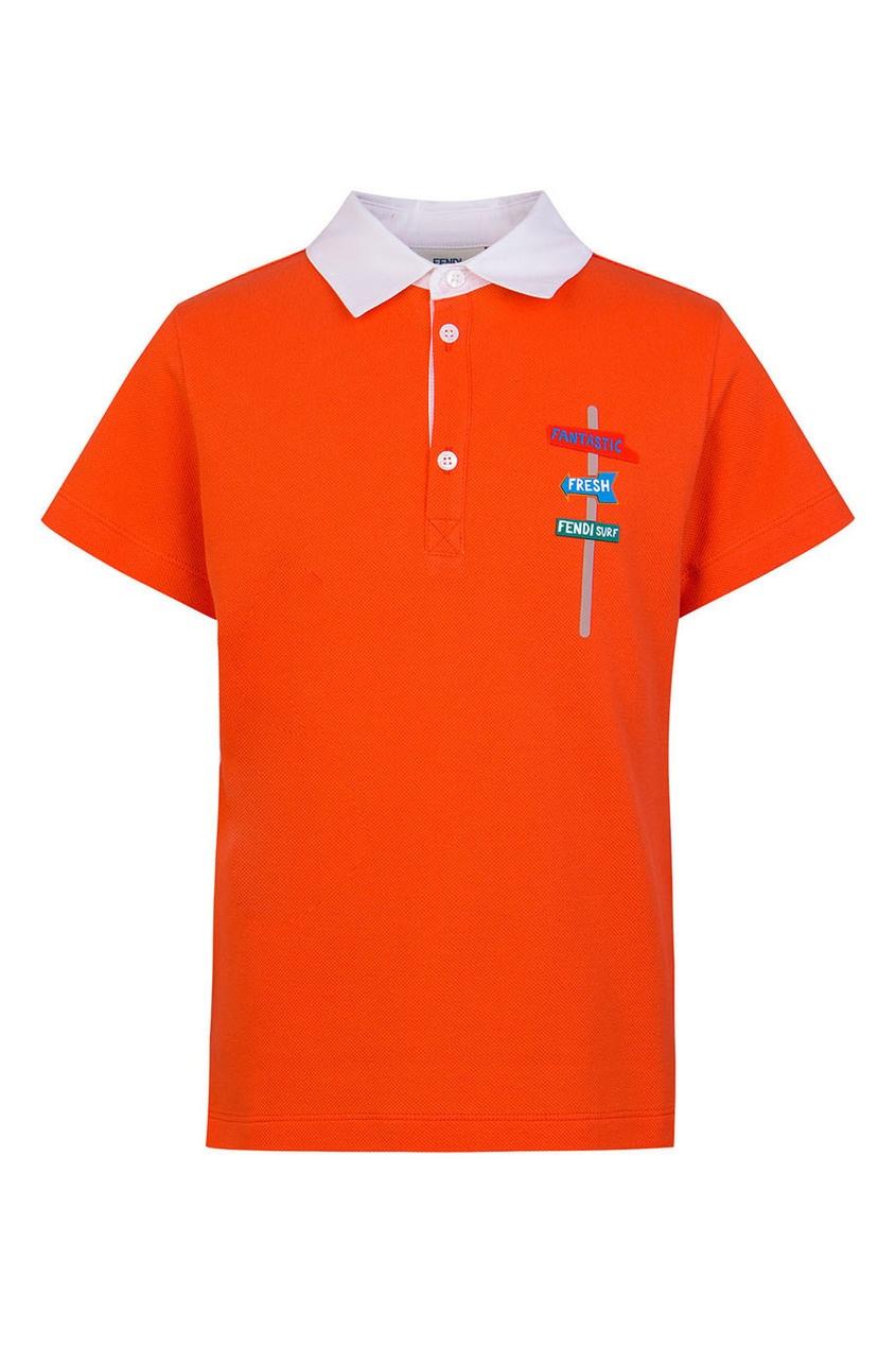 Fendi Children Оранжевое поло с аппликацией fendi поло