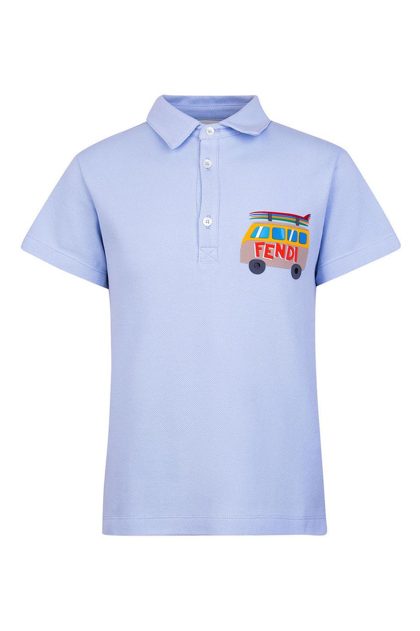 Fendi Children Голубое поло с аппликацией fendi поло