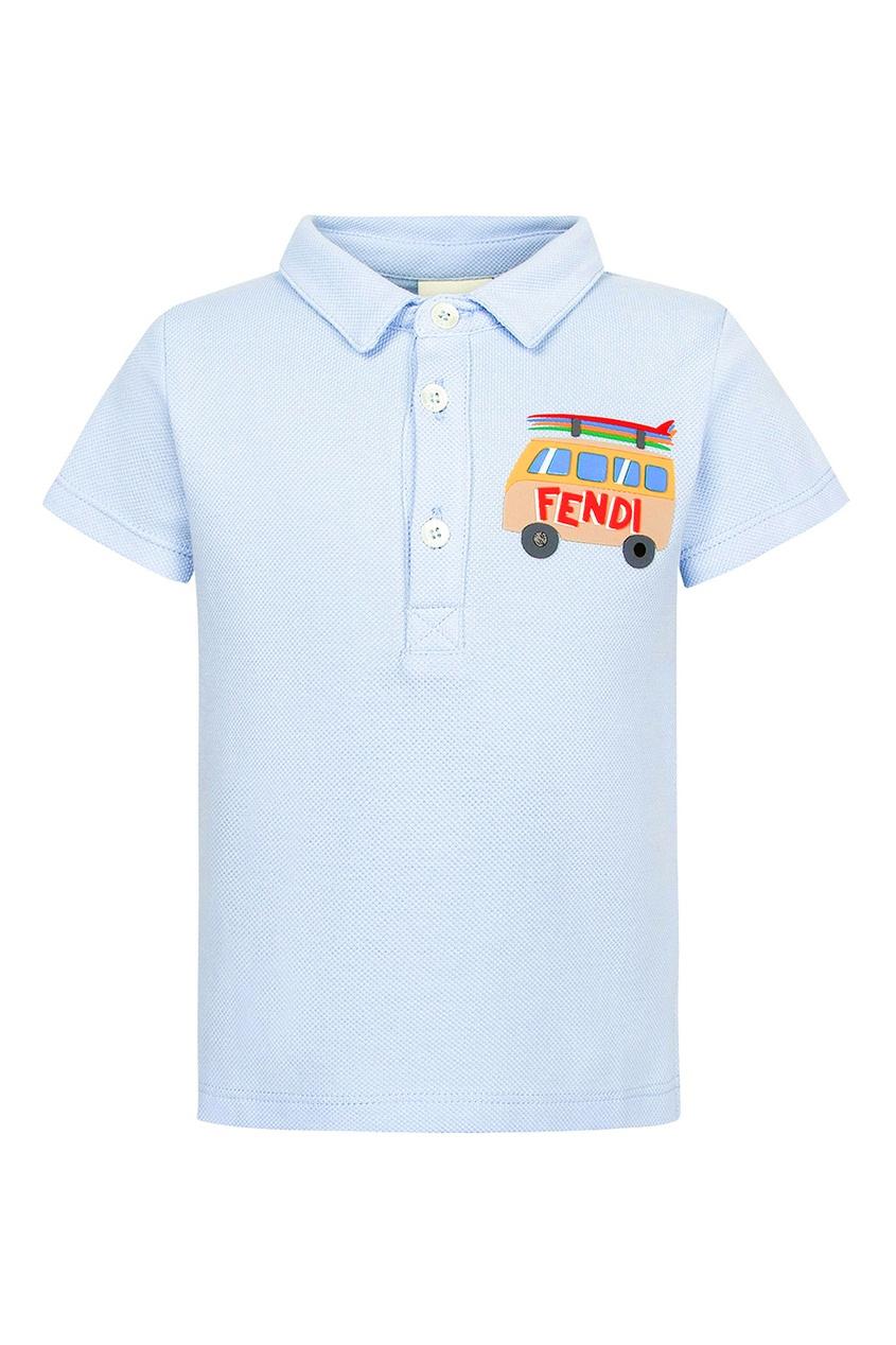 Fendi Children Голубое поло с яркой аппликацией fendi поло