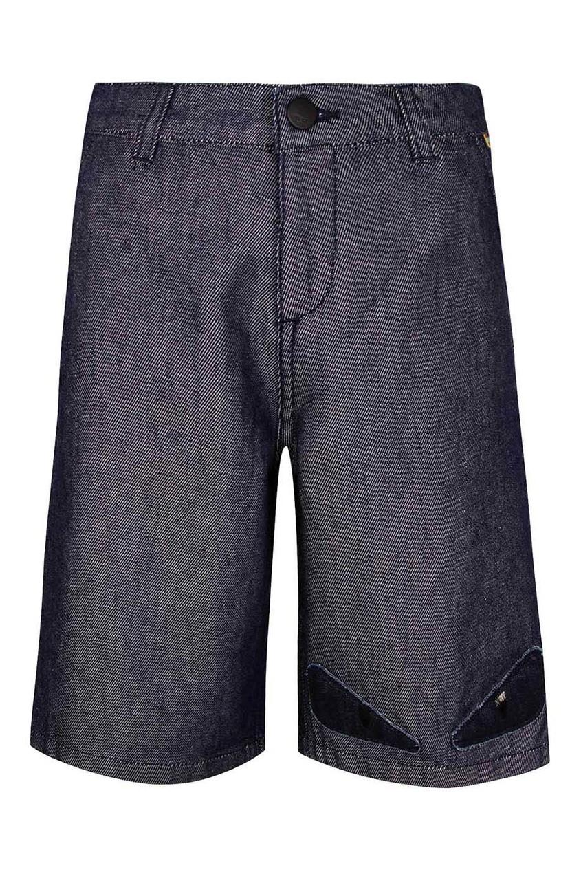 Расклешенные темно-синие шорты