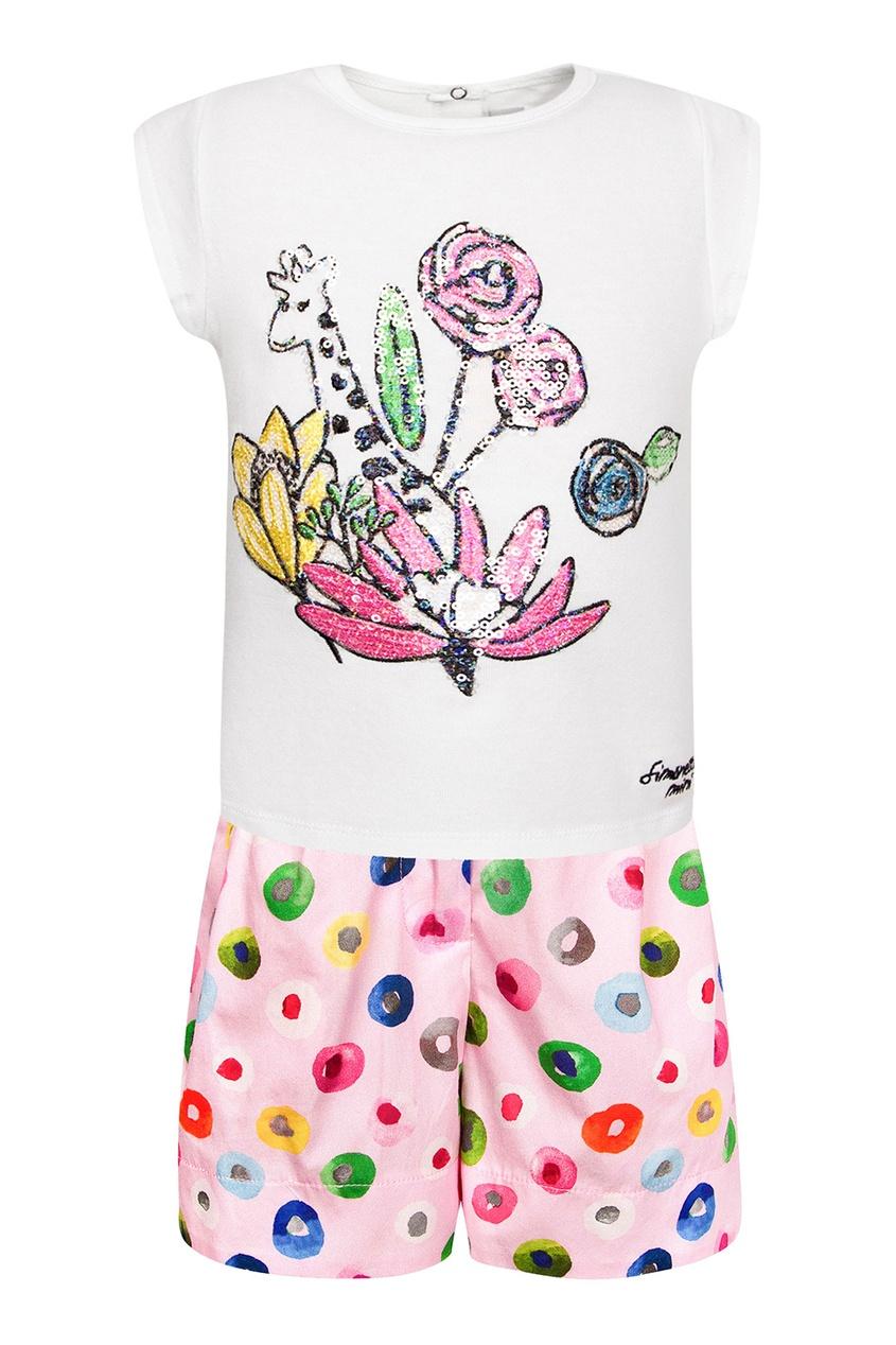 Комплект из футболки и шорт с разноцветным принтом