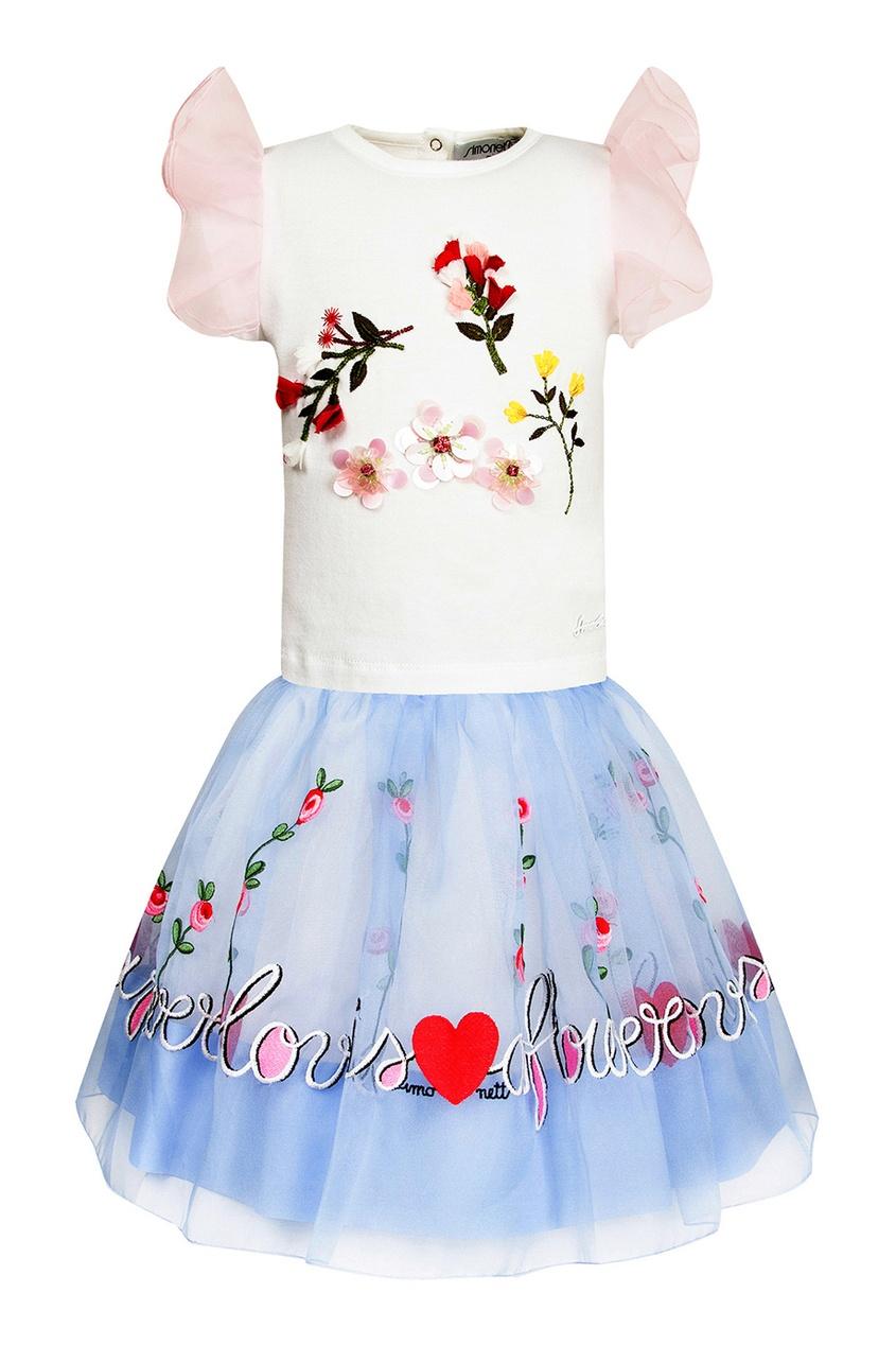 Комплект из топа и юбки с аппликацией от Simonetta Mini
