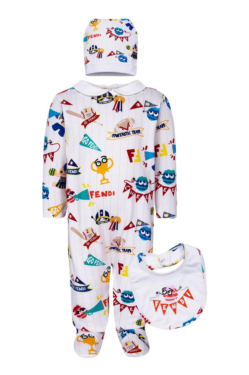 Fendi Children Комплект из комбинезона, нагрудника и шапки