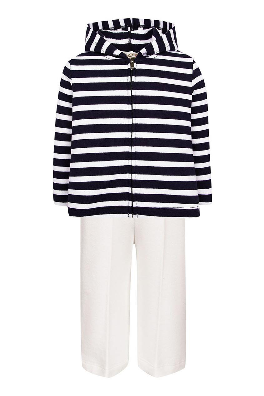 Комплект из футболки, брюк и худи в полоску