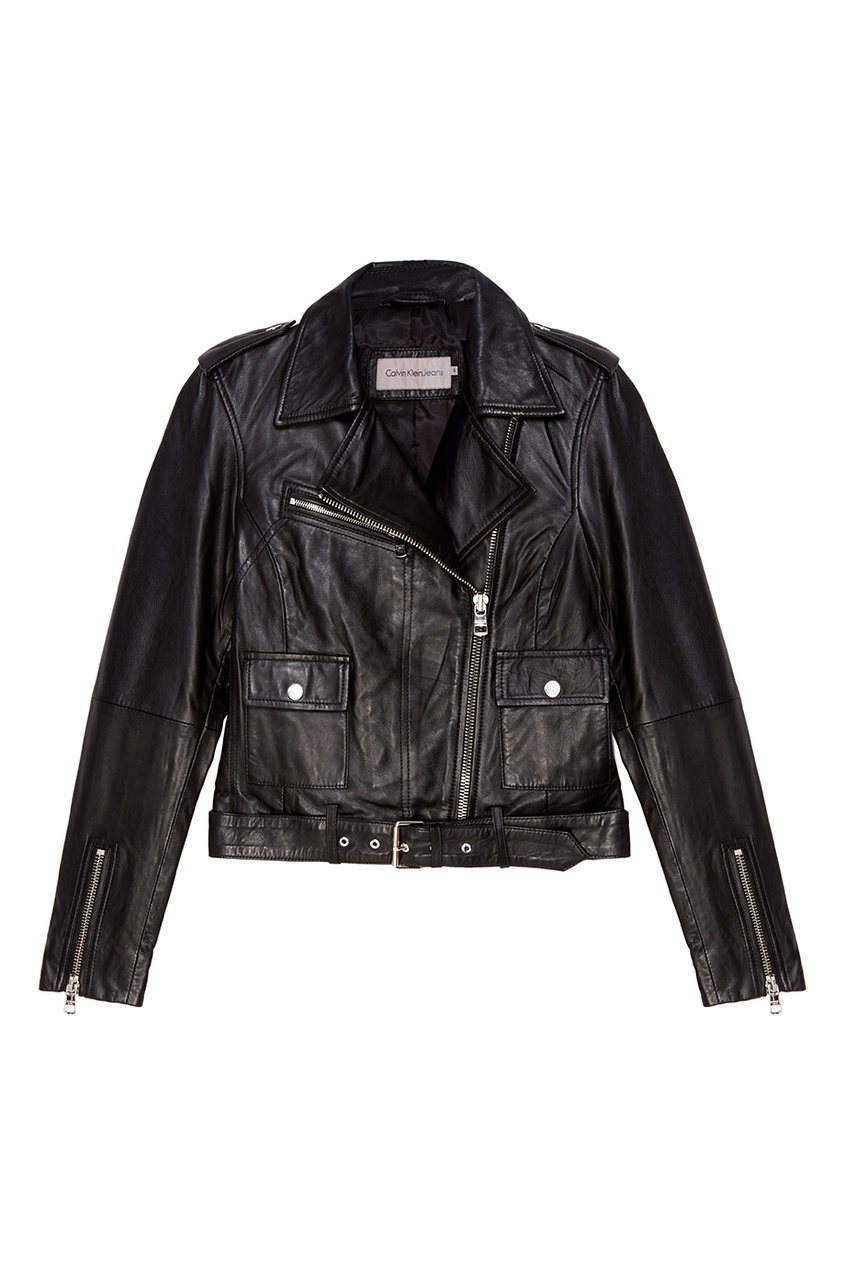 Черная кожаная куртка Calvin Klein. Цвет: черный