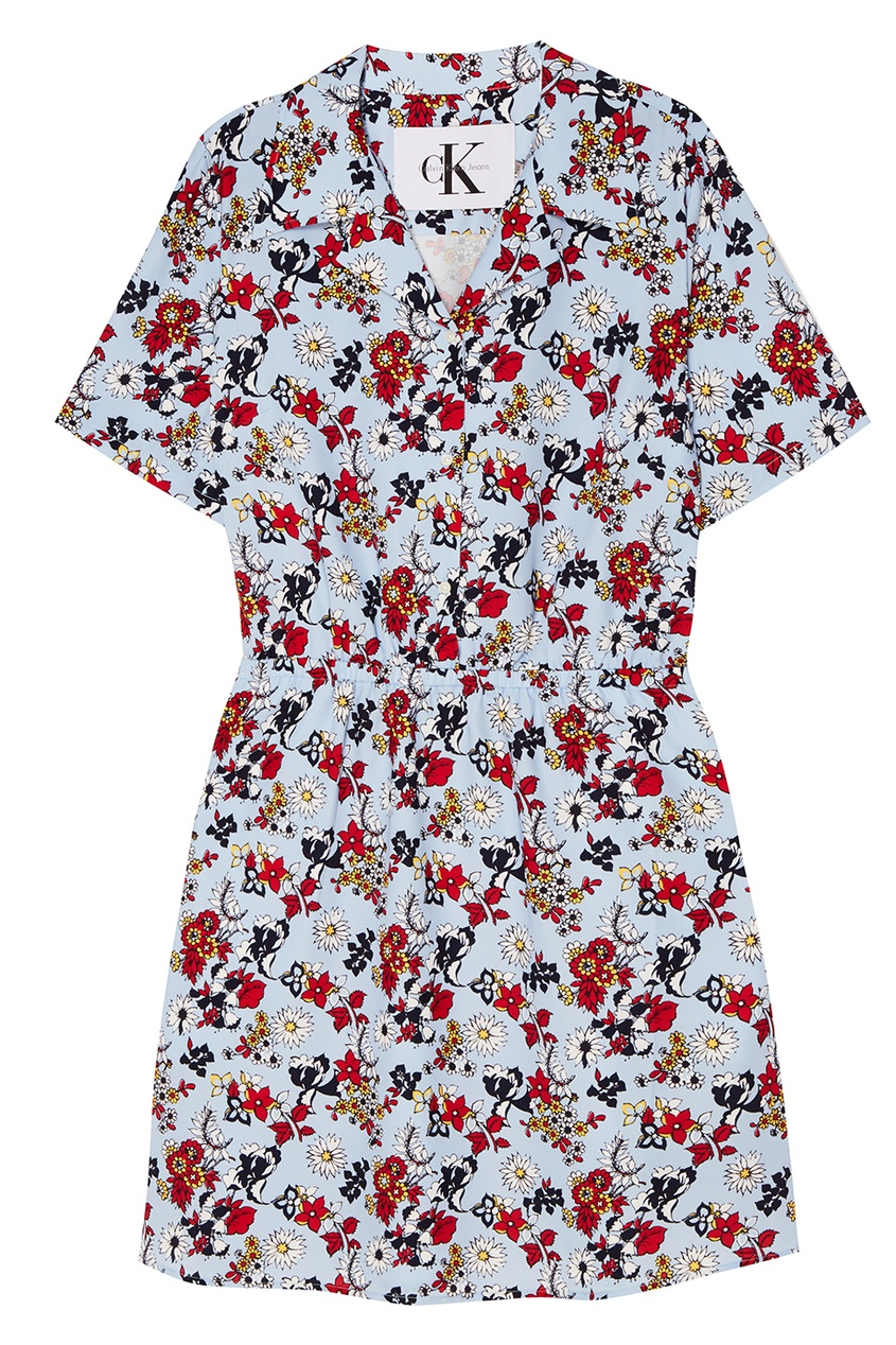 Calvin Klein Голубое платье с цветами платье с застежкой впереди