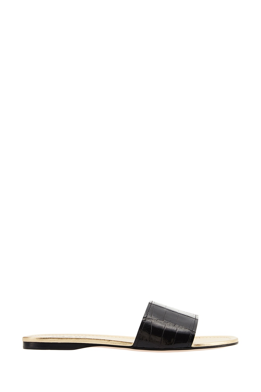 Prada Черные кожаные шлепанцы